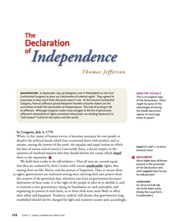 analitical essay of declaration of independence Declaration of independence and/or handout e: slavery essay the unanimous declaration of the thirteen united states of america,.